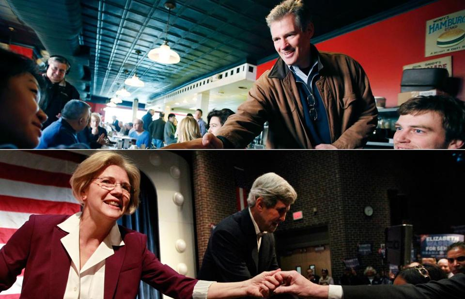 Senator Scott Brown and challenger Elizabeth Warren campaigned Sunday.