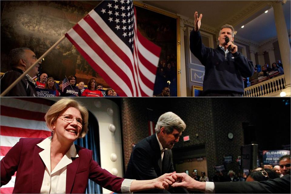 Senator Scott Brown campaigned in Faneuil Hall while challenger Elizabeth Warren barnstormed in Braintree with Senator John F. Kerry.