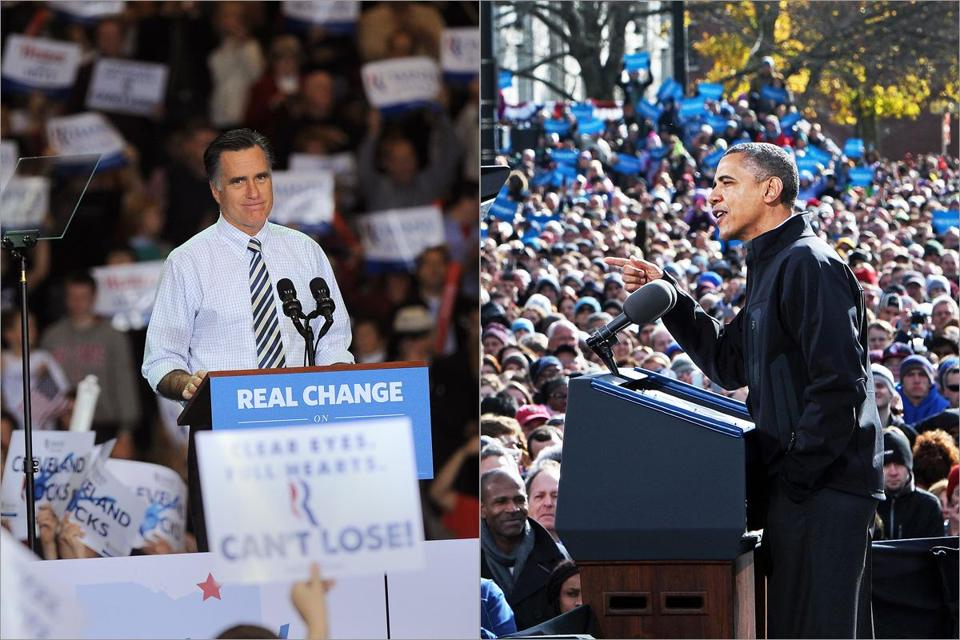 Mitt Romney was in four states Sunday, with Cleveland among his stops. President Obama was also in four states, opening in Concord, N.H.