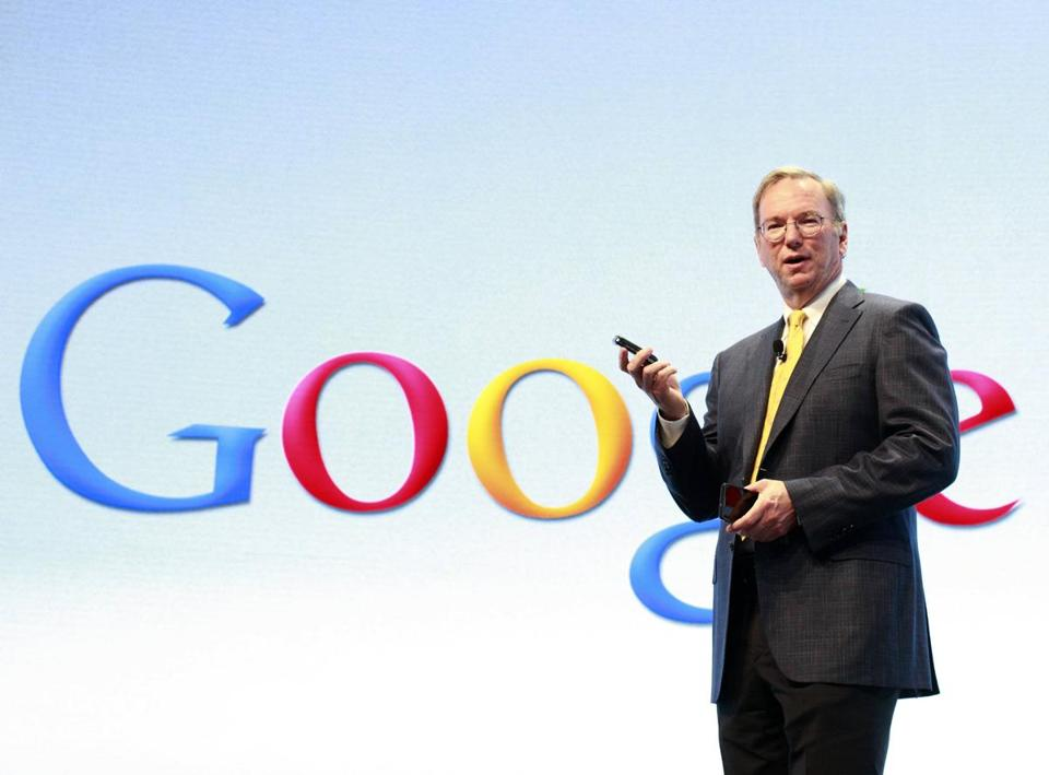 Google chairman Eric Schmidt spoke at a Motorola phone launch event in September. Google bought Motorola Mobility to gain leverage against Apple in its court battles.