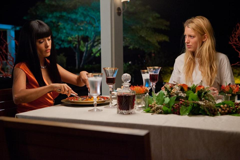"Salma Hayek (left) and Blake Lively in ""Savages."""