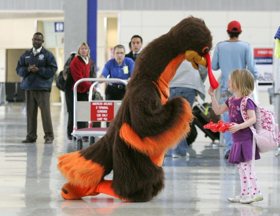 In this 2008 photo, a turkey greeted passengers at Dallas-Fort Worth International Airport.