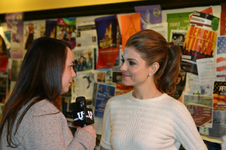 Emerson student Quinn Marcus (left) interviewing Maria Menounos.