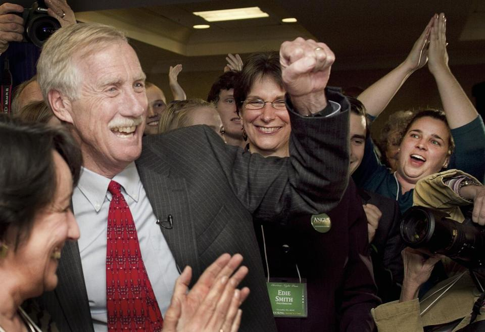 Former Maine governor Angus King celebrated his victory Tuesday in the race to replace retiring Senator Olympia Snow.