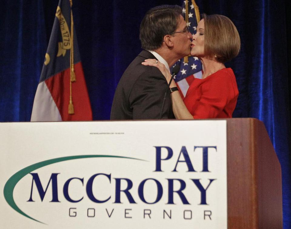 Pat McCrory kissed his wife, Ann, at his election night headquarters in Charlotte, N.C., last night after being declared winner of the governor's race.