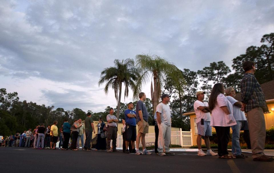 Voters stood in line at a Fort Myers, Fla., church Tuesday. Long lines were reported in many places nationwide.