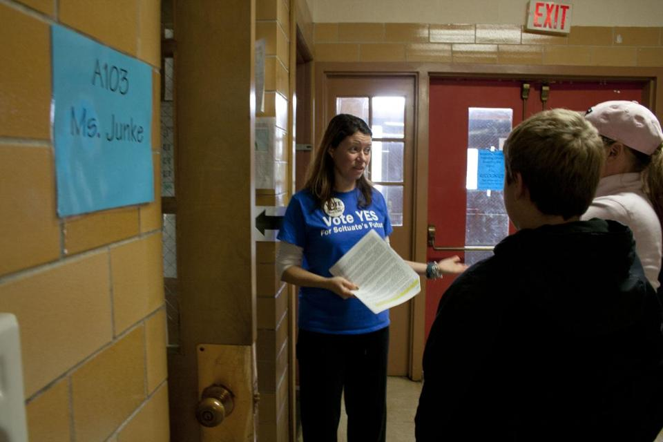 Jen Morrison of Friends of Scituate's Future took a group on a tour of Gates Intermediate School, pointing out safety issues throughout the building.