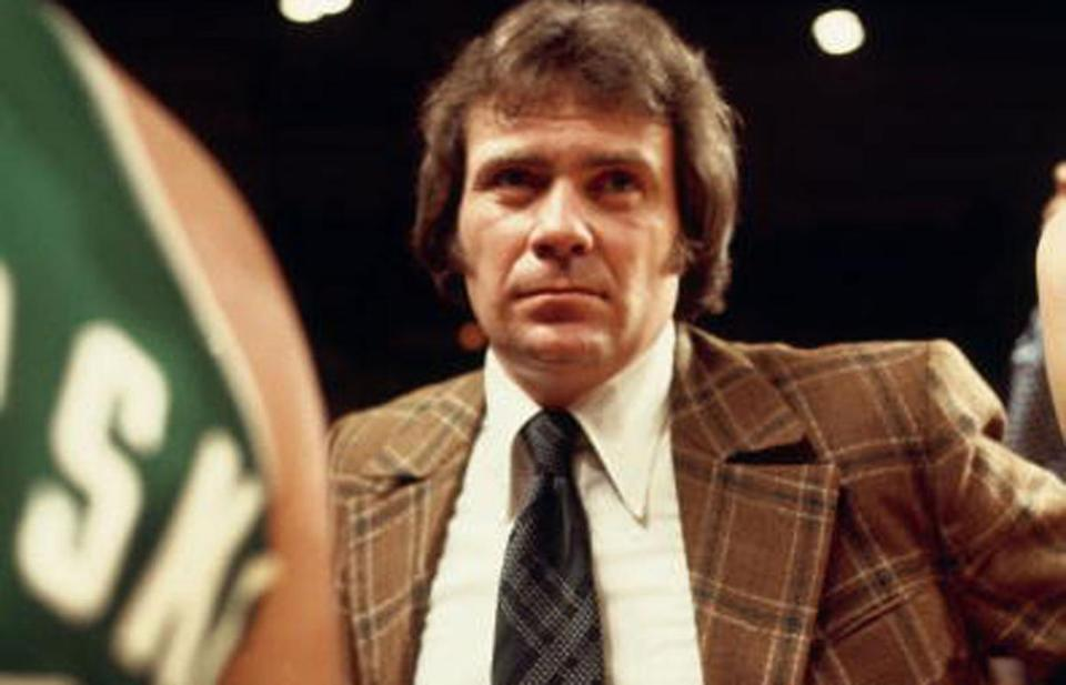 Tommy Heinsohn is seen coaching the Celtics during the NBA Finals against the Bucks in 1974.