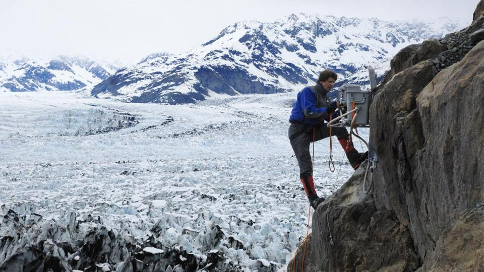 "In ""Chasing Ice,'' photographer James Balog installs a camera at Columbia glacier in Alaska."
