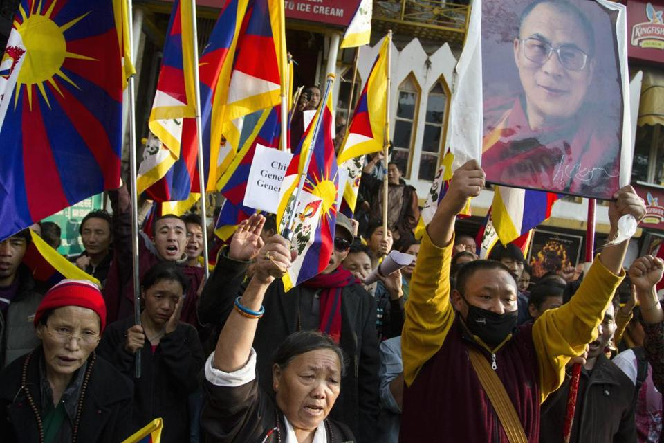Exiled Tibetans held a demonstration in India ahead of the start of China's weeklong Communist Party congress.
