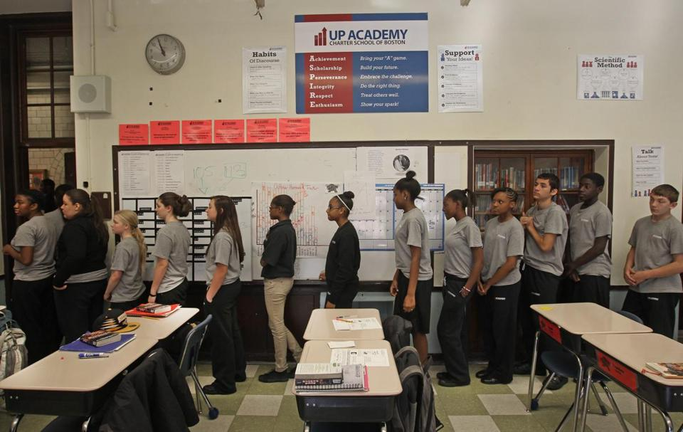 Eighth-graders lined up for lunch at UP Academy, an in-district charter school housed in the former Gavin Middle School.