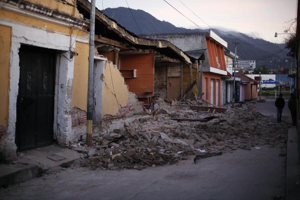 Some homes were reduced to rubble after Wednesday's 7.4 -magnitude earthquake in Guatemala's San Marcos region.