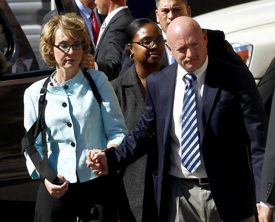 Gabrielle Giffords and husband Mark Kelly left court. The former congresswoman did not speak at the sentencing.