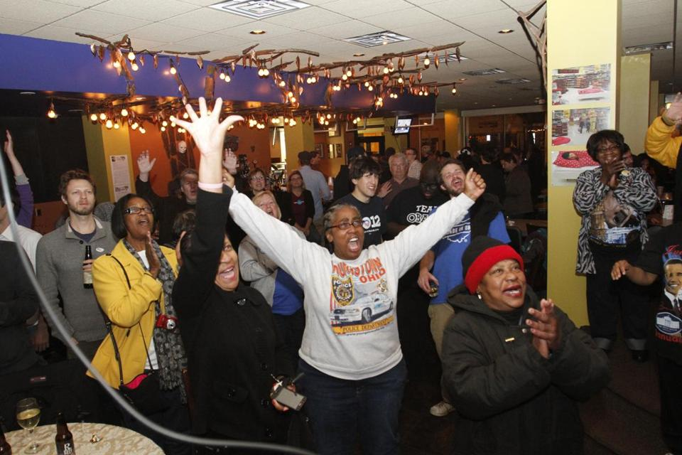 Patrons at The Lemon Grove restaurant in Youngstown, Ohio, celebrated President Obama's victory on Tuesday.