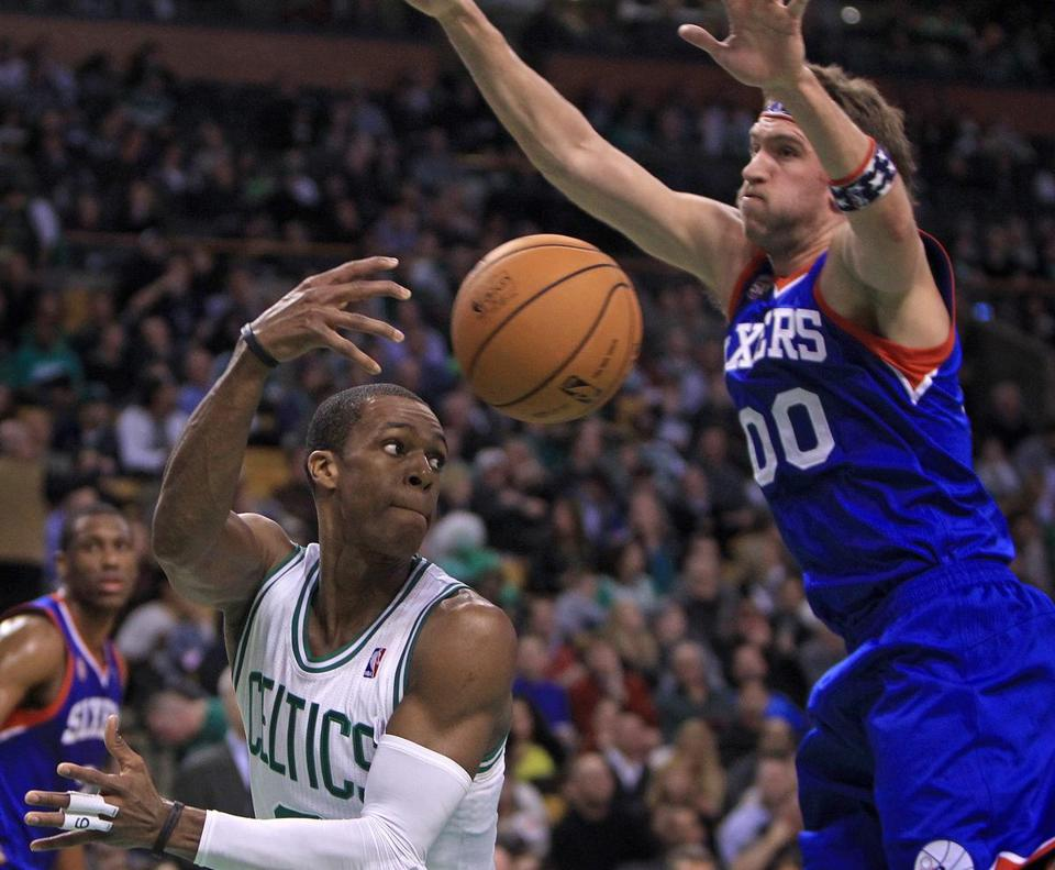 Rajon Rondo didn't pass up the chance to get the 76ers' Spencer Hawes off his feet during the second quarter.