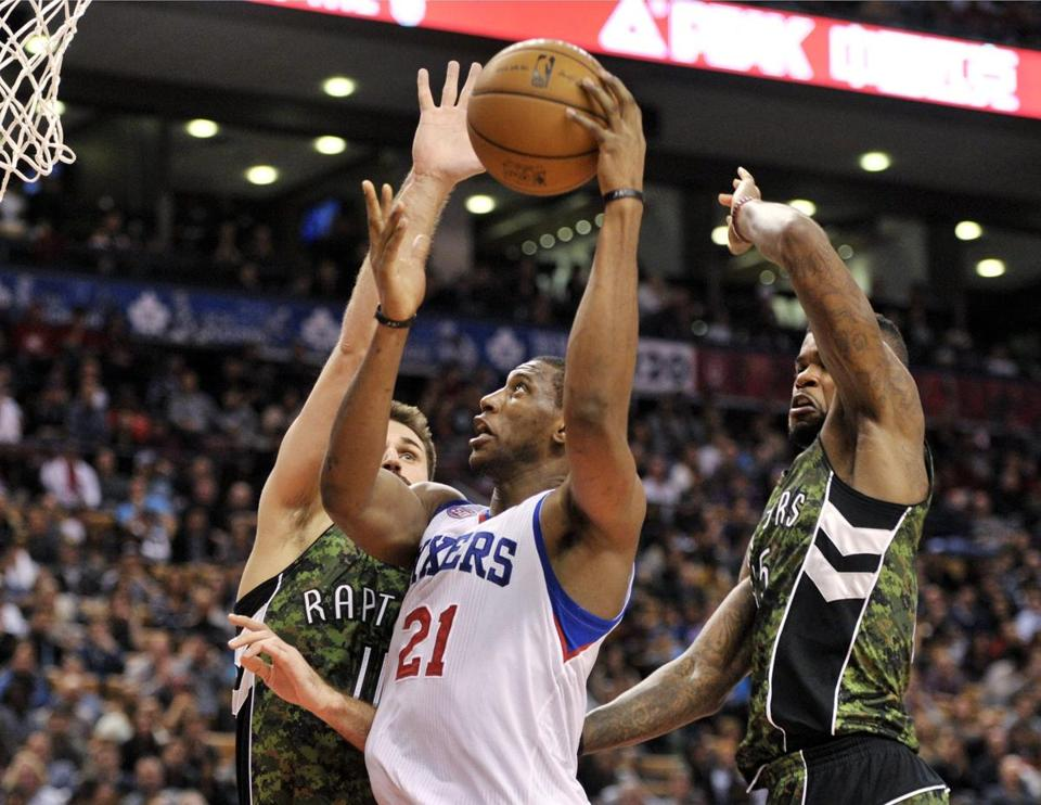 76ers forward Thaddeus Young scored 16 points against the Raptors.