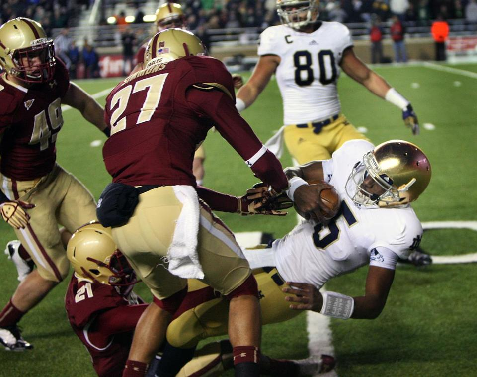 When it mattered most, BC usually had trouble bringing down Notre Dame quarterback Everett Golson.