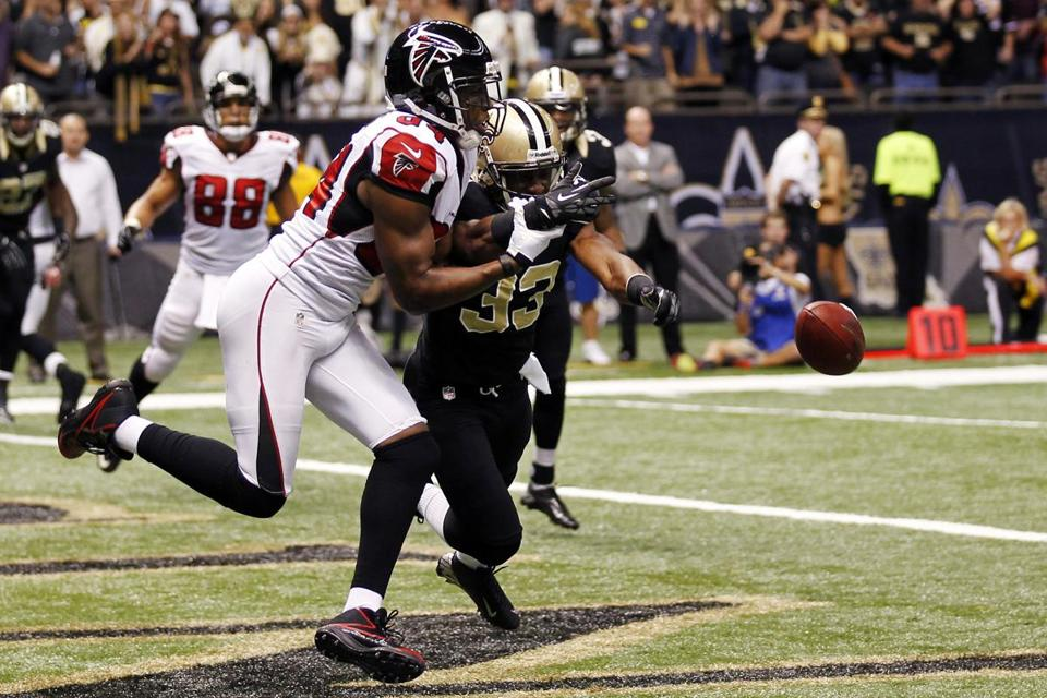 The Falcons had the go-ahead touchdown within their grasp when Roddy White had a step on his defender late in the fourth quarter, but the Saints' Jabari Greer made a diving deflection to break up the fourth-down pass.