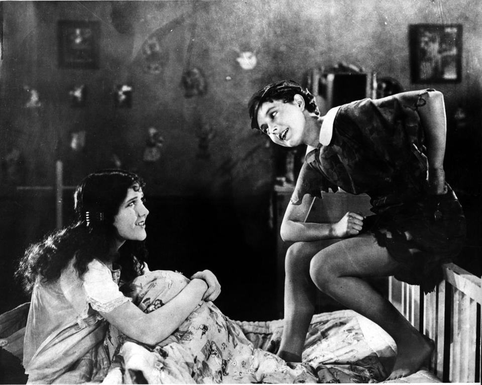 "Mary Brian (left) and Betty Bronson in ""Peter Pan."""