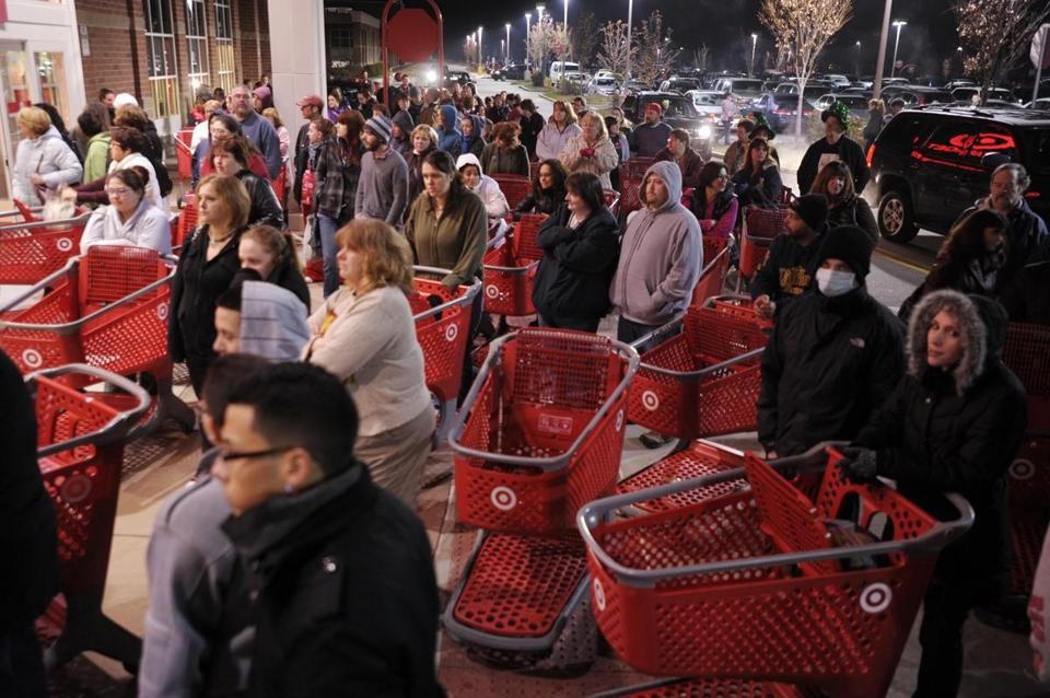 A crowd of shoppers waited outside a Target store in Connecticut on Black Friday last year.