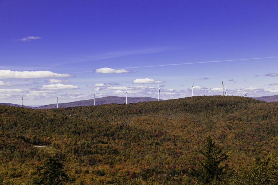 Turbines dot the landscape at the Hoosac wind project in the Western Massachusetts towns of Florida and Monroe. Hoosac has a generating capacity of 28.5 megawatts.