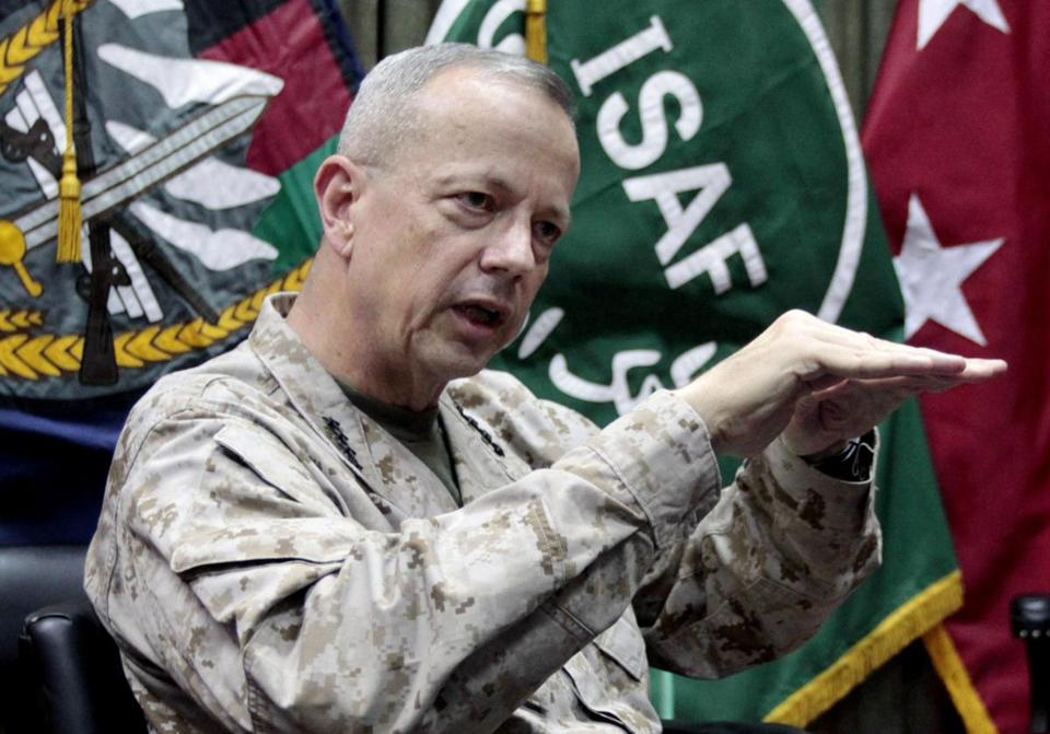 John Allen, a four-star Marine general, succeeded David Petraeus as the top American commander in Afghanistan in July 2011.