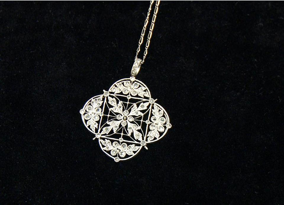 This platinum and diamond necklace was one of the pieces of jewelry recovered from Titanic.