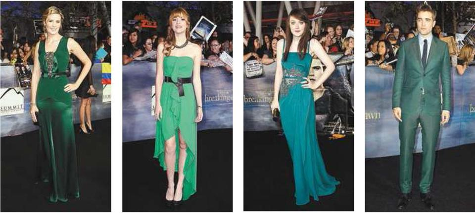 "From left: Maggie Grace, Bella Thorne, Dakota Fanning, and Robert Pattinson at the latest ""Twilight'' premiere."