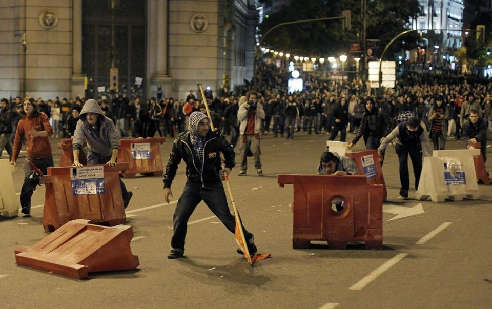 Protestors made barricades Wednesday during a general strike in Madrid — Spain's second one this year — to protest government-imposed austerity measures and labor-law changes.