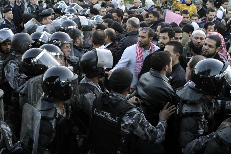 Police in Amman, Jordan, dispersed protesters on Wednesday. There were protests around the country.