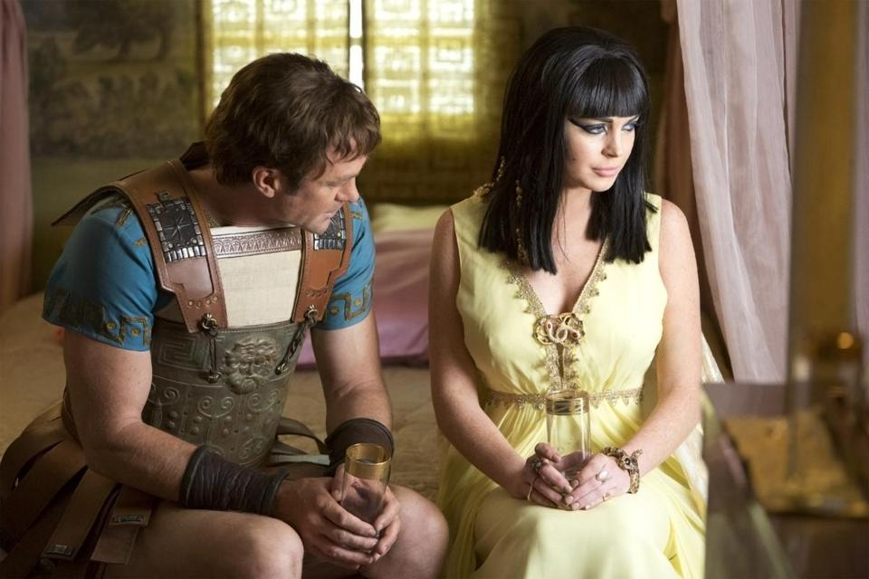 "Grant Bowler as Richard Burton and Lindsay Lohan as Elizabeth Taylor in the Lifetime movie ""Liz & Dick."""