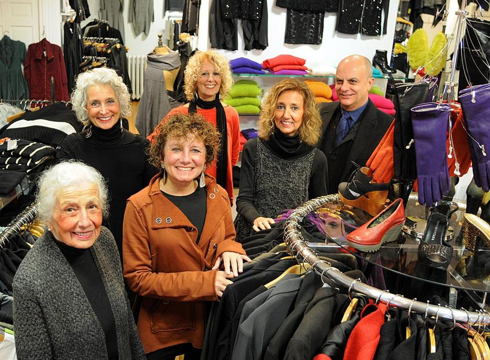 Celebrating the 35th anniversary of running Pilgrim's Progress Clothing in downtown Plymouth are (from left) matriarch Laura Brigida, daughter Joyce Whiting, longtime employee Renee Ferazzi, daughters Marie Whiting and Jayne Siever, and son Peter Brigida.