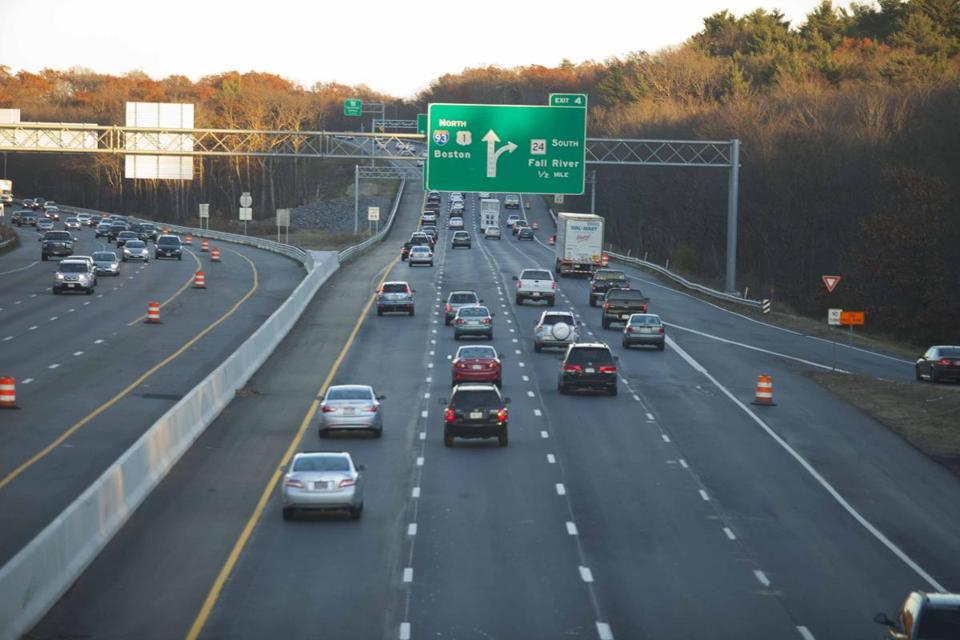Route 128/Interstate 93 near Exit 4. On some parts of the highway, but not all, a left lane has been added.
