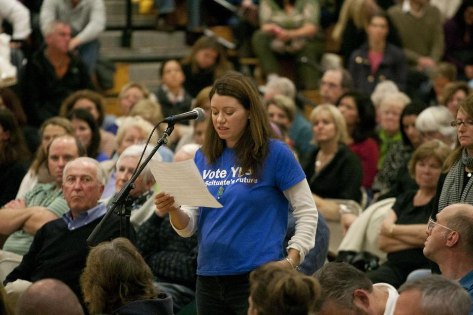 Jen Morrison, a member of the Friends of Scituate's Future, speaks at the special Town Meeting in favor of a study of the school system's needs.