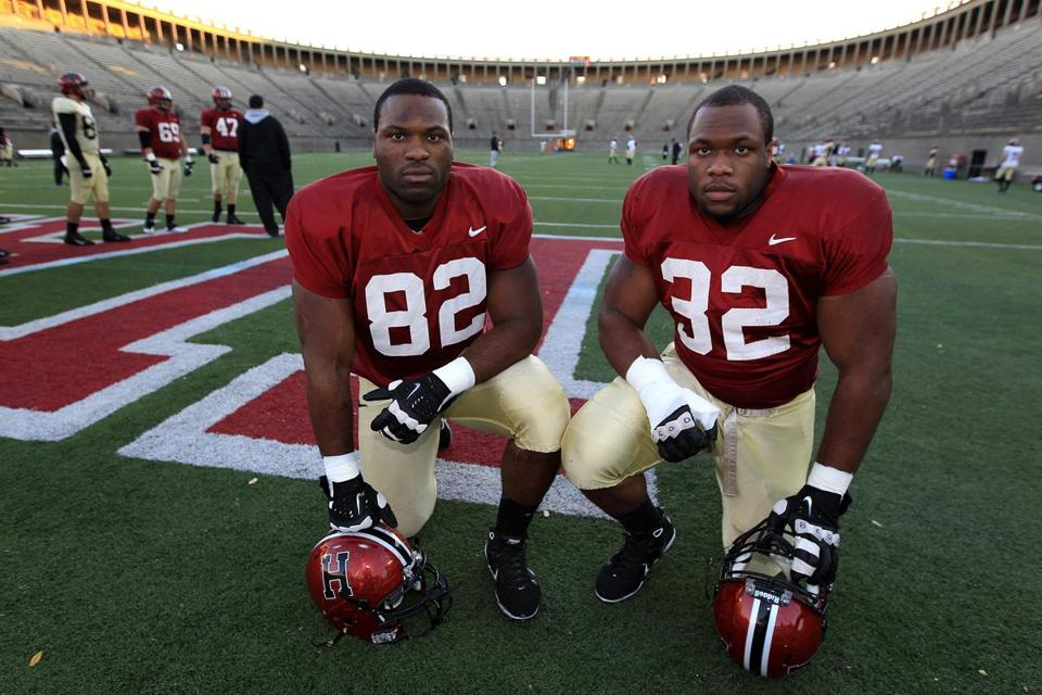 Brothers Nnamdi (left) and Obum Obukwelu grew up in Brockton and followed their oldest sibling to Harvard.