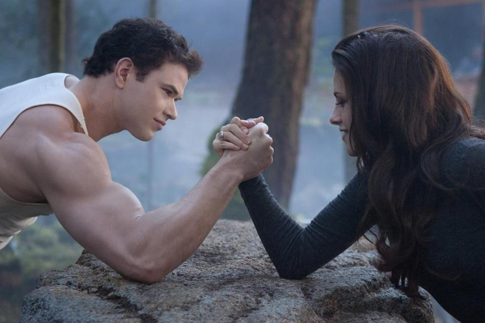 "Kellan Lutz and Kristen Stewart in ""The Twilight Saga: Breaking Dawn — Part 2,"" the final entry in the film series."