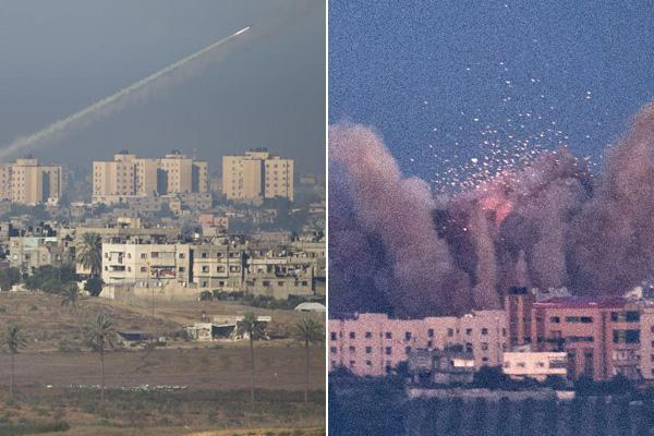 A rocket launched by Palestinian militants (left) headed toward Israel on Thursday and a Gaza site exploded from an Israeli airstrike as Israel and Hamas ignored calls for restraint and escalated their lethal conflict. Israel mobilized tanks and authorized a military call-up in signs that an invasion is possible.