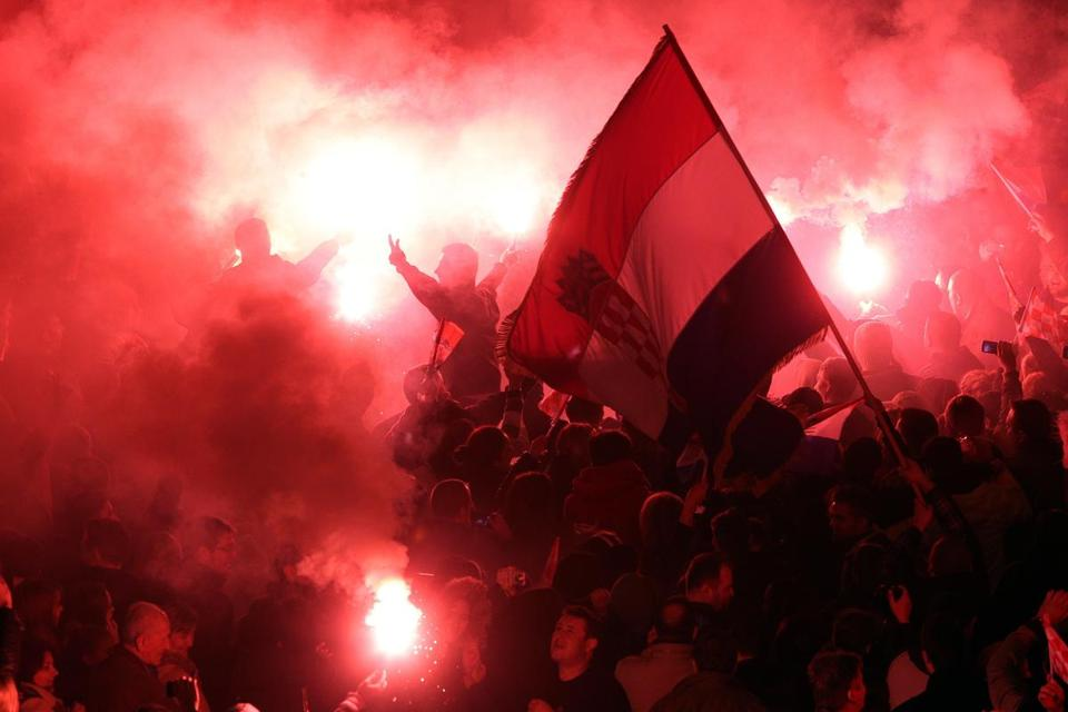 Croatians lit flares Friday during a celebration in Zagreb marking the return of Ante Gotovina and Mladen Markac.