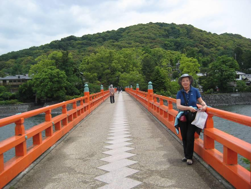 Kaori S. Kelts on the bridge over the Uji River.