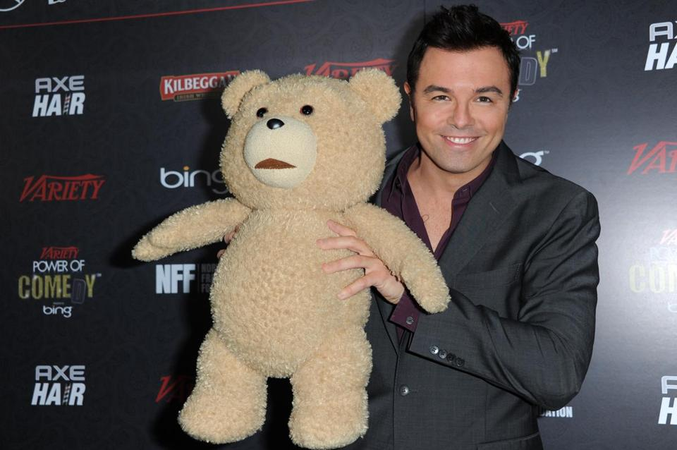 Seth MacFarlane and a friend at the Power of Comedy celebration.