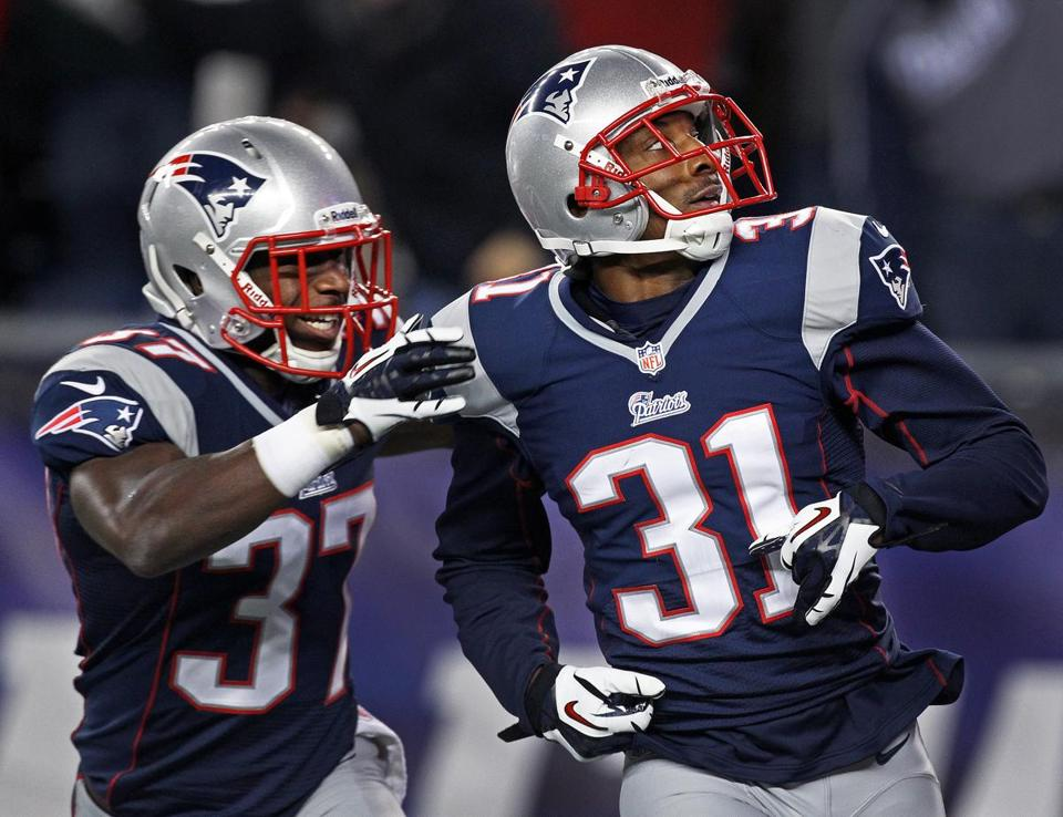 Aqib Talib (right) and Alfonzo Dennard helped improve the Patriots' secondary when they came on in the second half of last season.
