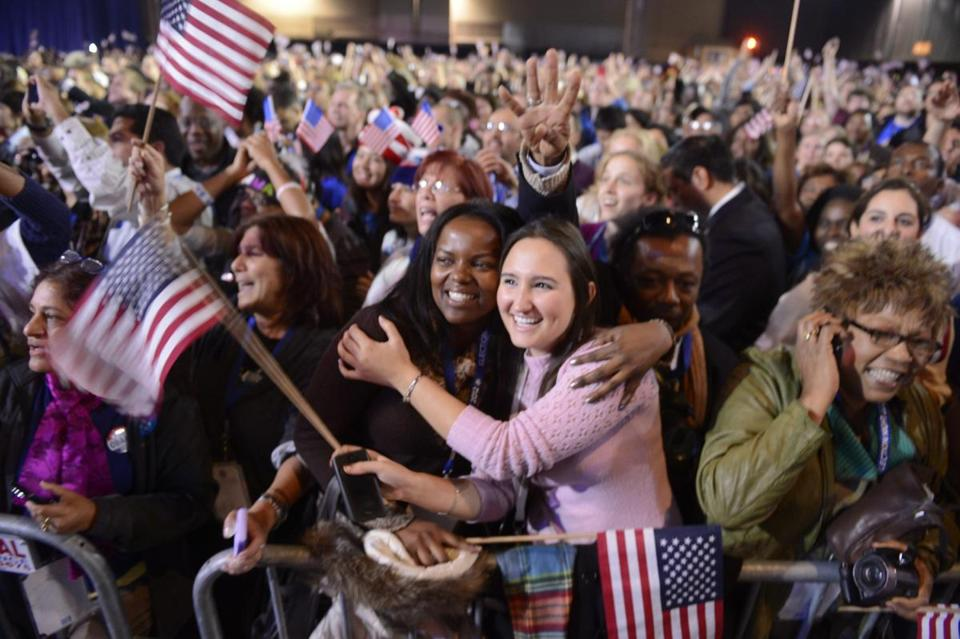 Diversity was on display election night as supporters cheered President Obama's victory over Mitt Romney.