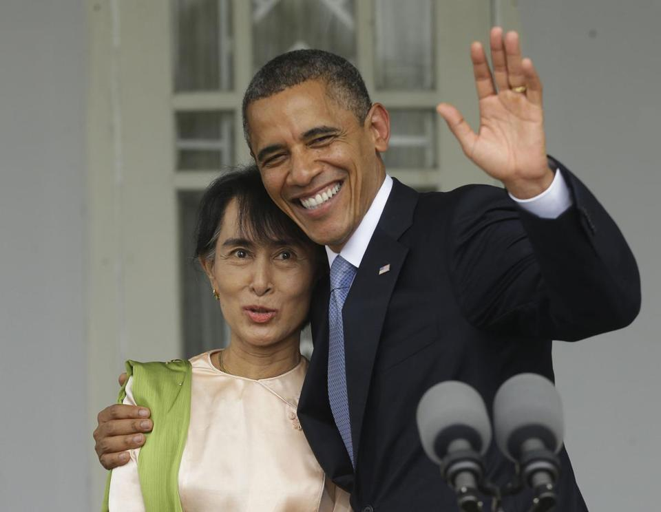 President Obama told Aung San Suu Kyi, a former opposition leader, that he was inspired by her.