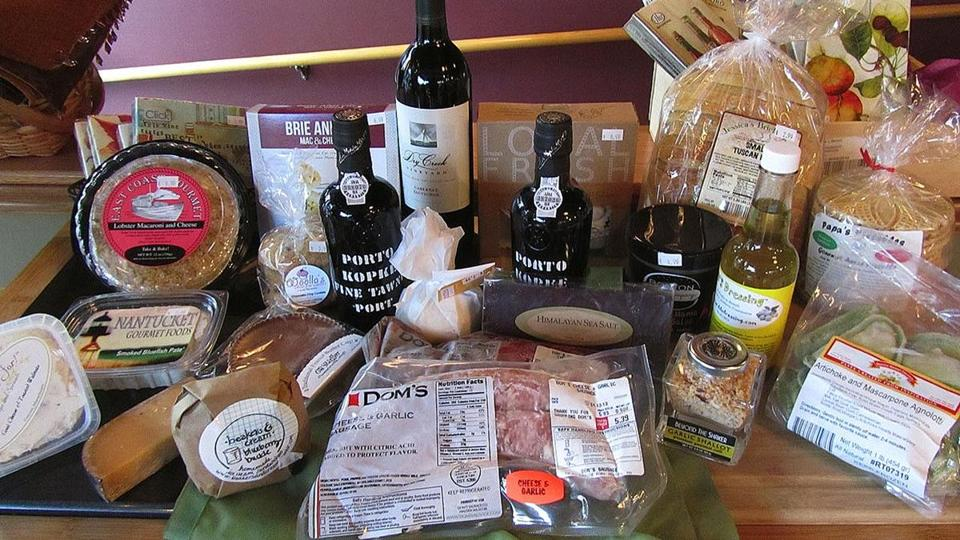 A variety of wines and food items from Beacon Hill Wine & Gourmet.