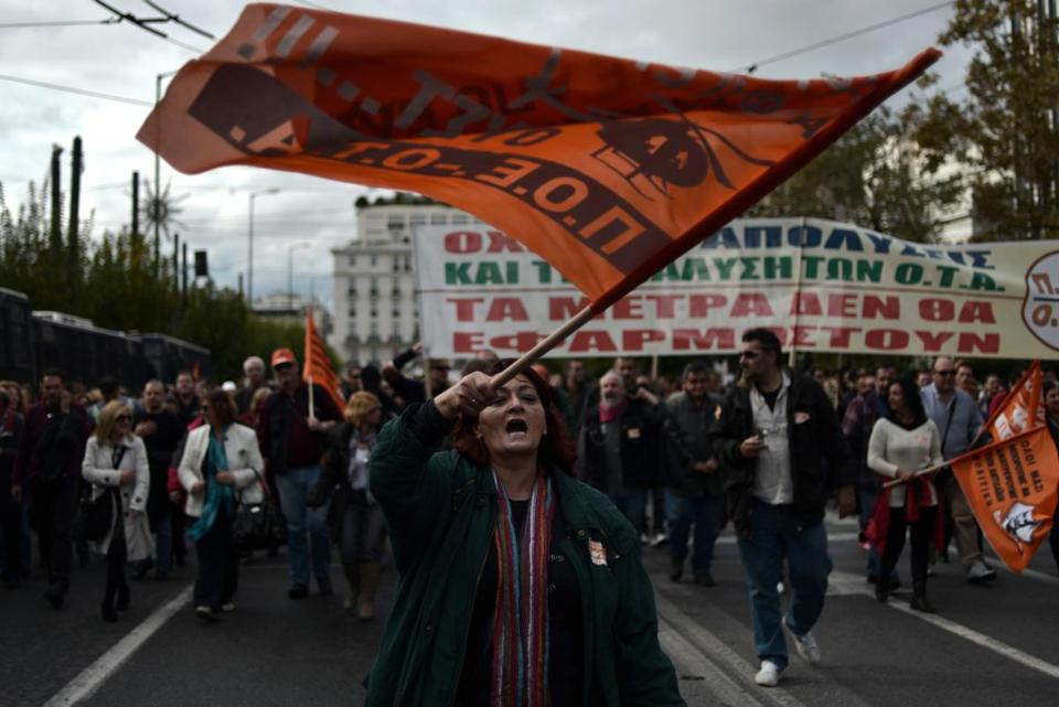 Municipal workers demonstrated against the new austerity measures in Athens on Tuesday.
