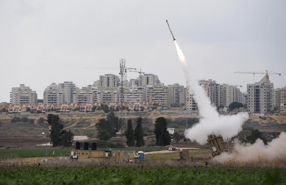 An Iron Dome launcher fired an interceptor rocket near the Israeli city of Ashkelon on Monday.