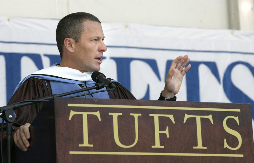 "Tufts rescinded the honorary degree it awarded Lance Armstrong in 2006, citing ""actions as an athlete [that] are inconsistent with the values of the university."""