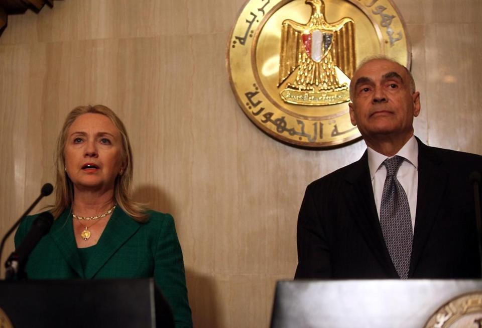 Secretary of State Hillary Rodham Clinton and Mohamed Amr of Egypt announced the cease-fire after talks in Cairo.