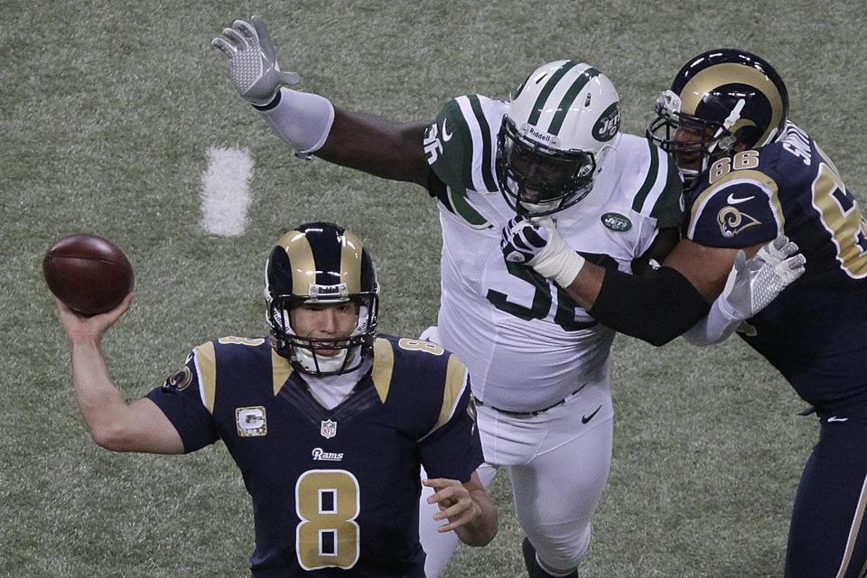 Jets defensive end Muhammad Wilkerson (6 feet 5 inches, 315 pounds) isn't a dominant pass rusher, but he did have a sack against the Rams, and three of his 14 quarterback hurries, according to profootballfocus.com.