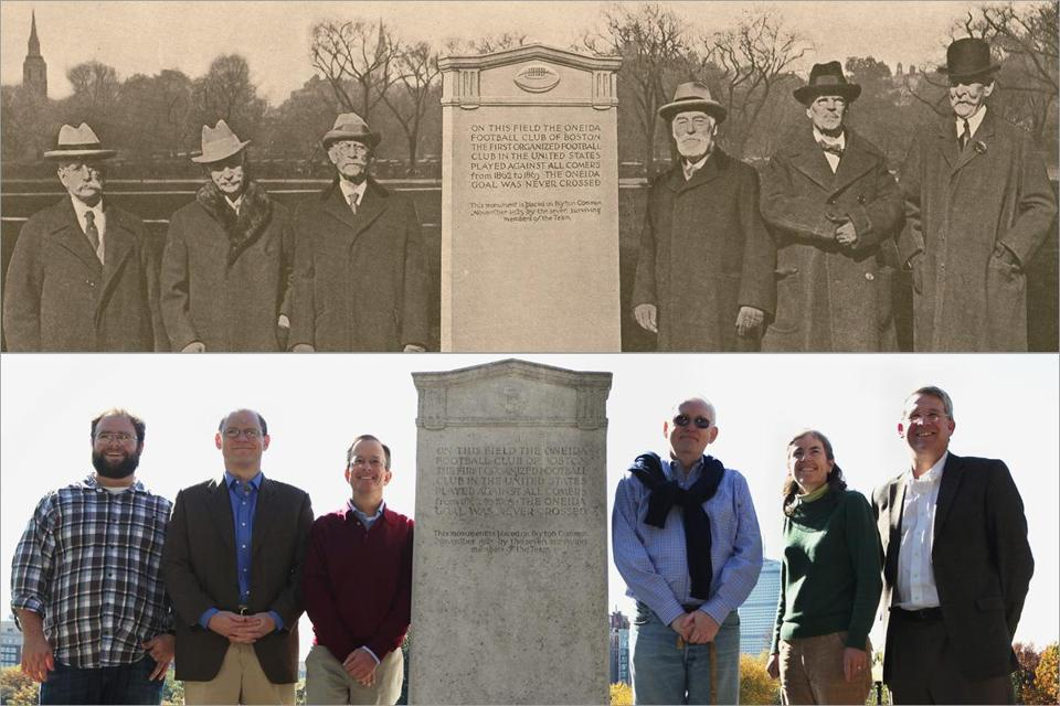 The surviving members of the Oneida team at the Nov. 21, 1925, dedication of the marker on Boston Common, where they played football (top) and descendants of the players at the marker last month, with Oneida club president Tom McGrath (third from right).